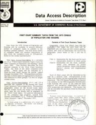 First Count Summary Tapes From The 1970 Census Of Population And Housing Book PDF