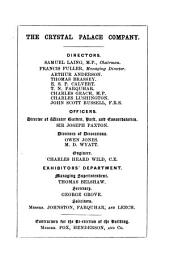 The Crystal Palace and Park in 1853: What Has Been Done, what Will be Done : Addressed to Intending Exhibitors