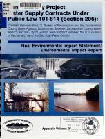 Central Valley Project Water Supply Contracts Under Public Law 101 514  Section 206   Appendix PDF
