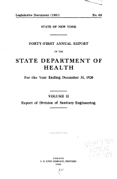 Annual Report of the State Department of Health of New York for the Year Ending December 31 ...: Volume 41, Part 2