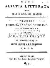 Alsatia literata sub Celtis, Romanis, Francis