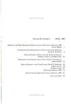 African Studies Bulletin