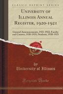 University of Illinois Annual Register, 1920-1921