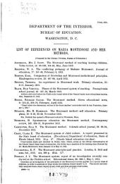 List of References on Maria Montessori and Her Methods: Volume 2