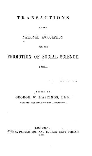 Transactions of the National Association for the Promotion of Social Science PDF