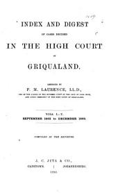 Index and Digest of Cases Decided in the High Court of Griqualand