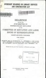 Oversight Hearings on Library Services and Construction Act