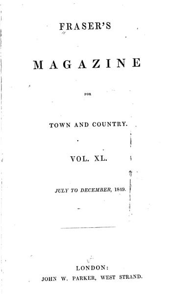 Fraser's Magazine for Town and Country