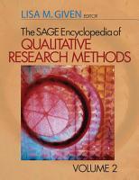 The Sage Encyclopedia of Qualitative Research Methods  A L   Vol  2  M Z Index PDF