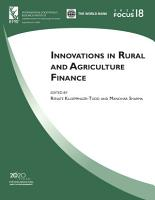 Innovations in rural and agriculture finance PDF