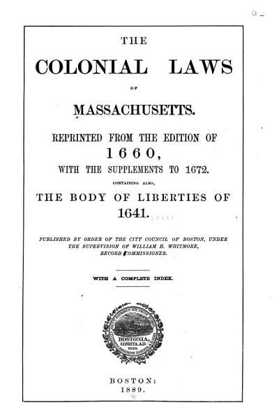 The Colonial Laws of Massachusetts PDF