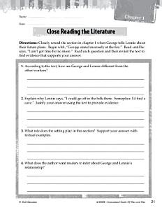 Of Mice and Men Close Reading and Text Dependent Questions Book