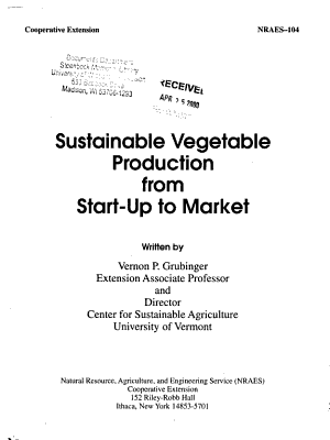 Sustainable Vegetable Production from Start up to Market PDF