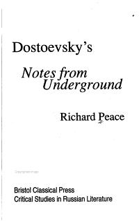 Dostoevsky s Notes from Underground