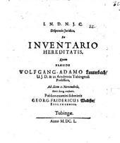 Disputatio Iuridica, De Inventario Hereditatis
