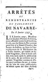Arrêtés et remontrances du Parlement de Navarre: du 8. Janv. 1757