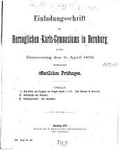 Einladungsschrift des Herzoglichen Karls-Gymnasiums in Bernburg0: 1876, 6. Apr