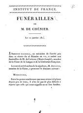 Funérailles de M. de Chénier: Le 12 janvier 1811