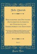 Bibliographie der Deutschen Zeitschriften Literatur mit Einschluss von Sammelwerken und Zeitungen  Vol  7 PDF