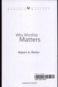Why Worship Matters Book