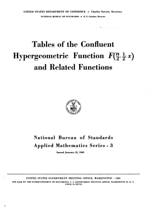 Tables of the Confluent Hypergeometric Function F n 2  1 2  X  and Related Functions PDF