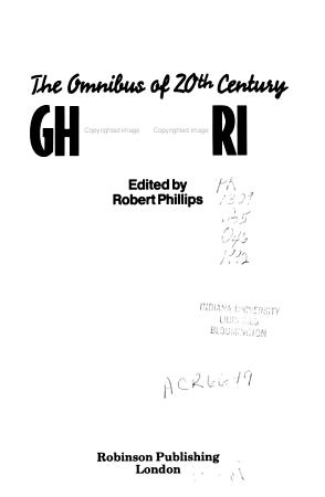 Omnibus of 20th Century Ghost Stories PDF