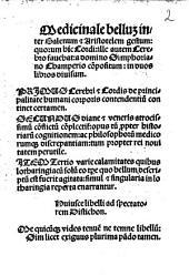 Symphorianus Champerius Medicinale bellum, inter Galenum et Aristotelem gestum