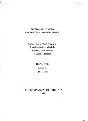 Reprints   National Radio Astronomy Observatory  Green Bank  W  Va