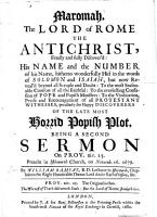 Maromah  the Lord of Rome the Antichrist     discover d     Being a second sermon on Prov  xiv  25  etc PDF