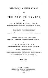 Biblical Commentary on the New Testament: Translated from the German for Clark's Foreign and Theological Library, Volume 3