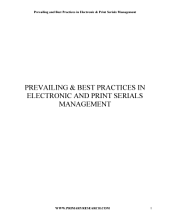 Prevailing and Best Practices in Electronic & Print Serials Management