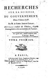 Recherches sur la science du gouvernement ... ouvrage traduit de l'Italien d'après l'exemplaire et les corrections de l'auteur, [by C. Guilloton-Beaulieu.]