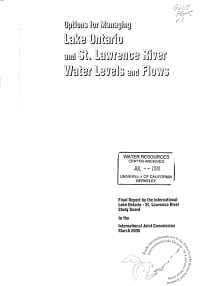 Options for Managing Lake Ontario and St  Lawrence River Water Levels and Flows PDF
