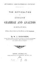 The difficulties of English grammar and analysis simplified  with a brief history of the language PDF