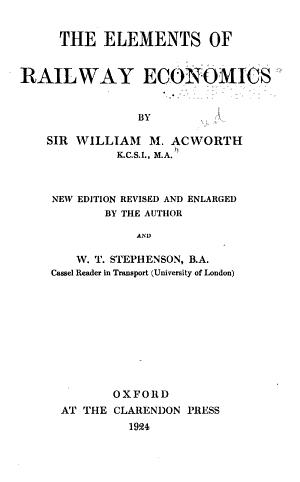 The Elements of Railway Economics