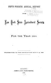 Annual Report of the New York State Agricultural Society ...