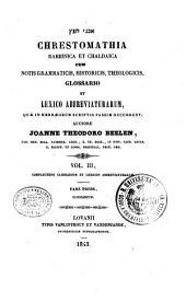 Chrestomathia rabbinica et chaldaica cum notis grammaticis, historicis, theologicis: 3.1: Complectens glossarium et lexicon abbreviaturarum