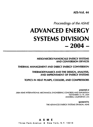 Proceedings of the ASME Advanced Energy Systems Division PDF