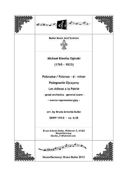 BBWV 149   Oginski Polonez     d minor  orchestra   performancepack