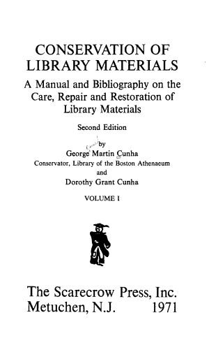 Conservation of Library Materials PDF