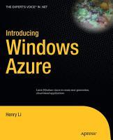 Introducing Windows Azure PDF