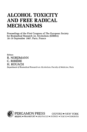 Alcohol Toxicity and Free Radical Mechanisms PDF