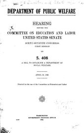 Protection of Maternity: Hearing Before the Committee on Education and Labor, United States Senate, Sixty-seventh Congress, First Session on S. 1039 ... April 25 1921 ...