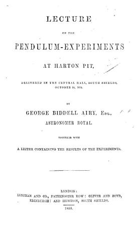Lecture on the Pendulum Experiments at Harton Pit  etc PDF