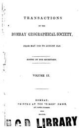 The Transactions of the Bombay Geographical Society: Volume 9