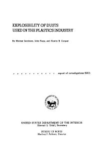 Explosibility of Dusts Used in the Plastics Industry