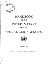 Handbook of the United Nations and the Specialized Agencies PDF