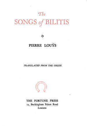 The Songs of Bilitis