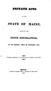 Special Laws of the State of Maine Passed by the Legislature