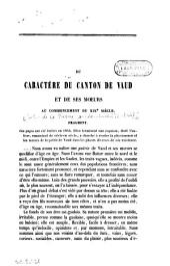 Du caractère du canton de Vaud et de ses moeurs au commencement du XIXe siècle: fragment